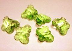 サンキャッチャー蝶型ガラスパーツ6個グリーン