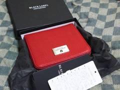 ブラックレーベル 本革製二折財布 赤系・新品