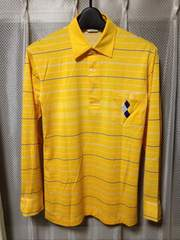 古着レトロ アーノルドパーマー 長袖ポロシャツ Sサイズ 細身 ボーダー柄 黄色+紺白