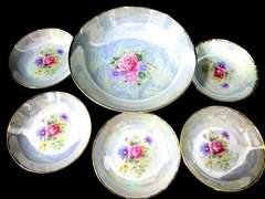 鳴海NARUMI金襴手薔薇ラスト彩小皿5客&大鉢1枚6点セット