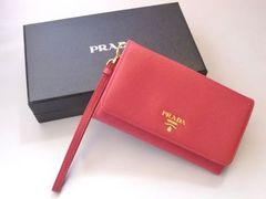 新品 PRADA プラダ ストラップ付きミニ財布 ピンク