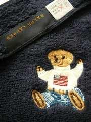ラルフローレンハンドタオル1枚セーターベア刺繍濃紺