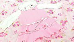 フォーマル☆ピンクのフリフリのスーツワンピ〜80