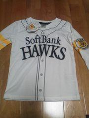 新品SoftBankHAWKSユニフォーム風長袖Tシャツ野球観戦応援120