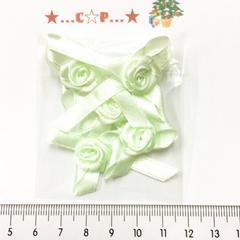 9*�@スタ*オリジナル薔薇付きリボン*黄緑*178