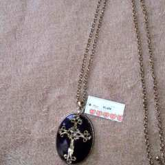 定価1680円◆アンティーク クロス   ロング ネックレス