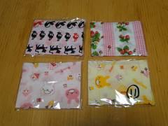 子供用マスク女の子用 黒猫&黄色ウサギ&ピンクウサギ&苺4枚