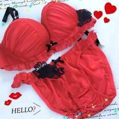 新品☆F80LL赤ブラジャー&ショーツセット大きいサイズ