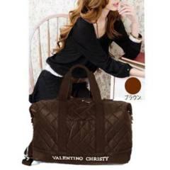 新品【6905】【ブラウン】VALENTINO CHRISTY「キルト」ボストンバッグ