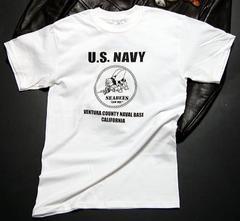 米海軍「SeaBee」蜂Tシャツ・白黒L・新品/ミリタリー