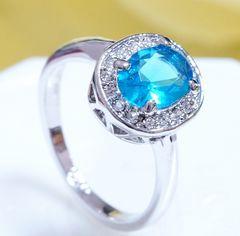 18KRGPプラチナ高級CZブルー彩石一粒リング yu993e