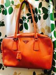 プラダオレンジレザーハンドバッグ正規品ロゴマークサフィーノ