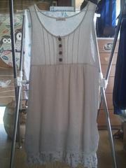 新品同様ニットチュニック(4L)白×白・グレードット(裾)