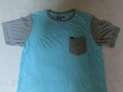 USA購入【Hurley】ソフト素材ポケット付 TシャツUS L 青 x 灰