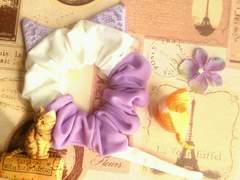 ハンドメイド*・゚お耳はレース†パステル紫×Whiteネコモチーフシュシュ猫耳&シッポ