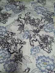 ☆新柄白×狛犬牡丹墨絵画大柄ダボシャツ4L
