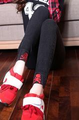 ■新品■大きいサイズ 高弾力裾スカル刺繍デニムスキニーデニム XL