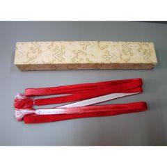 新品☆箱有 正絹 帯締め 赤白 和装小物 送料140円