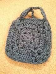 麻 手編みプチバッグ
