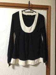 B150/rienda/FREEサイズ/ブラック×ホワイト/長袖/トップス/
