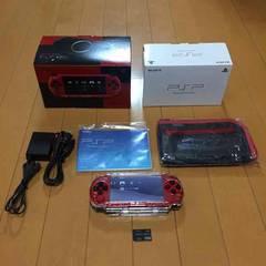 【送込/限定】PSP 本体 3000 赤黒 フルセット 保護ケース付き