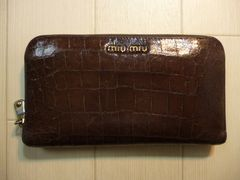 miumiu ミュウミュウ クロコ型押し ラウンドファスナー 長財布