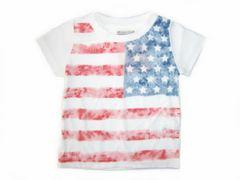 *新品*USA国旗ビンテージ風Tシャツ*ホワイト*80�a*保育園・遊び着に*