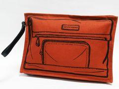 美品 Longchamp ロンシャン クラッチバッグ オレンジ系