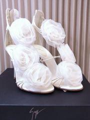 ジュゼッペザノッティ ローズ装飾 オーガンジー サンダル 白 36 未使用★dot