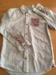 新品!!和柄グレー長袖シャツ