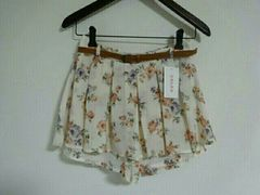 Honeys*花柄ペプラム キュロットinスカート*ベルト付き