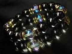即決価格!!ブルーオーラ×ブラックオニキスMIX数珠ブレスレット