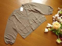 新品n,n,カーキポケット七分袖カーディガン定価¥2900