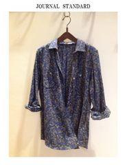 ジャーナルスタンダードフラワープリント*2wayカシュクールシャツ新品ブルー