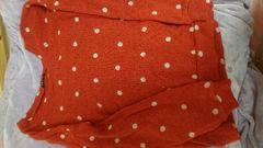 即決☆Mサイズ赤の水玉ニットセーター