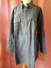 3L/大きいサイズ七分袖ユッタリカジュアルシャツ/ネイビー