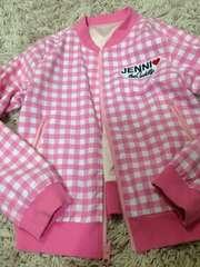 JENNI・リバーシブルチェック柄ジャンパー・ピンク140