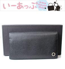 極美品 ブルガリ メンズ長財布 レザー 黒v279