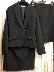 新品☆7号スカート2種付き仕事オフィススーツ黒無地j729