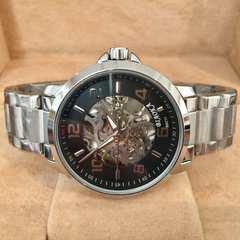 送料無料★100m防水スケルトンメンズ自動巻き腕時計・ブラック×シルバー