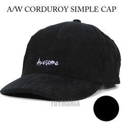 コーデュロイ 刺繍 キャップ 帽子 黒 BK ブラック レディース ユニセックス 秋冬 新品