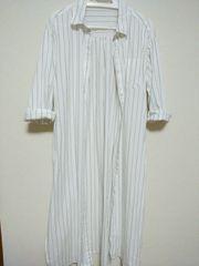 白黒ストライプ 長袖 超ロングシャツ 美品