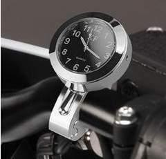 バイク用アナログ時計ハンドルバー 取付タイプ防水(シルバー)