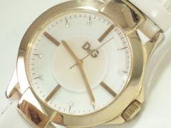 7200/ドルチェ&ガッバーナDG★ホワイトシェルダイヤルメンズ腕時計ゴールドケース