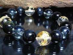 四神獣水晶ブルータイガーアイ青水晶12ミリ数珠