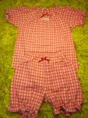 ●ハート刺繍半袖スモックパジャマ● 95新品赤