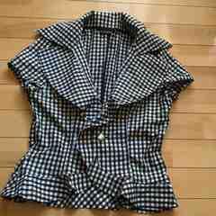 新品★ギンガムチェック柄の半袖ジャケット風シャツ  13号