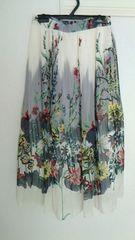 美品花柄フレアスカート