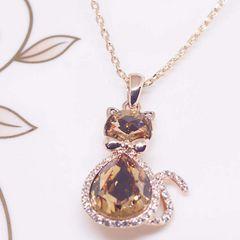 18K RGP ゴールド ダイヤ CZ 猫 琥珀色 ネックレス pn3850