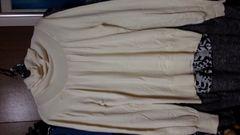 アイボリー タートルニットセーター長袖 胸元タッグいり M9号